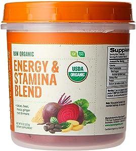 BareOrganics Energy & Stamina Blend Powder   Organic, Vegan, Gluten-Free, Non-GMO, BPA-Free   Beet, Cacao, Maca, Ginger Root, 8oz