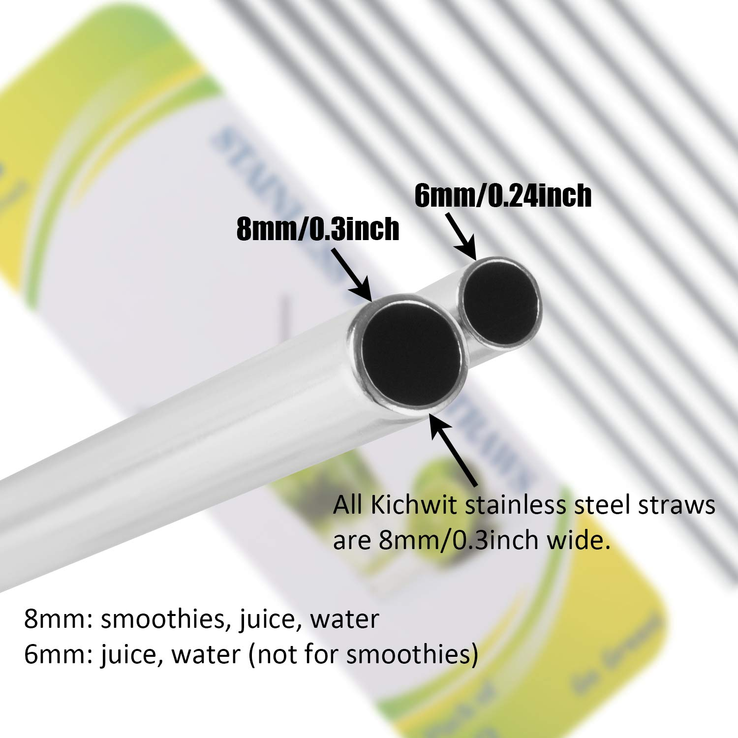 Kichwit Extra Long Stainless Steel Straws Set of 8, Reusable Wide Straws for Smoothies, 10.5'' Long, 5/16'' Wide, Metal Drinking Straws, 2 Cleaning Brushes Included by Kichwit