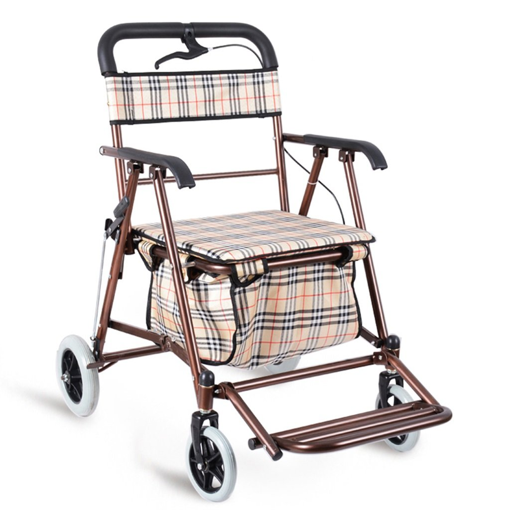 Amazon.com: Fold Trolley Can Push to Sit Portable Four Rounds Shopping Cart Elderly Shopping Cart Iron Art Practical Hand Truck Free Cushion (Color ...
