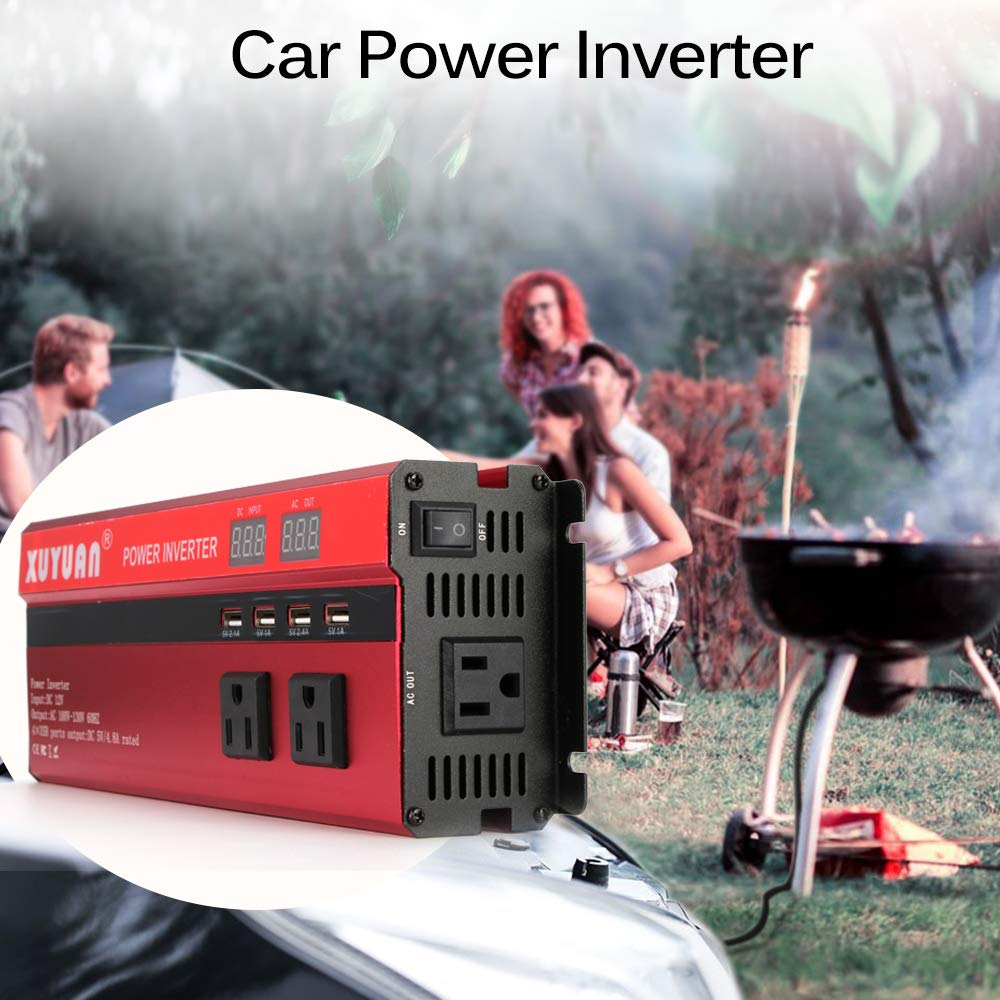 5000W Solar Car Power Inverter LED DC 12V to AC 110V Sine Wave Converter with 4 USB Interfaces ourleeme