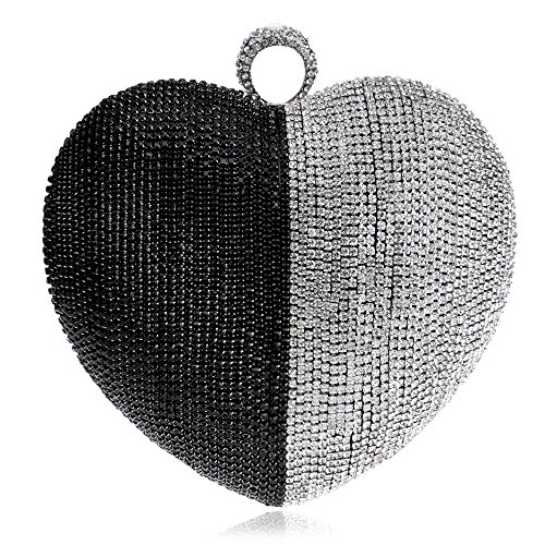 - Women Clutch Bag Purse Evening Handbag Glitter Diamante Beaded Shoulder Bag Heart-shaped For Bridal Wedding Party Prom Clubs Ladies Gift,Black-16158cm