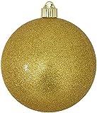 Christmas By Krebs CBK20497 Shatterproof UV-Resistant Christmas Ball Ornaments 6'' Gold Glitter 12 Piece