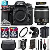 Holiday Saving Bundle for D7500 DSLR Camera + AF-P 18-55mm + 2yr Extended Warranty + 32GB Class 10 Memory + Backup Battery + 16GB Class 10 + Case + Tulip Lens Hood + UV - International Version