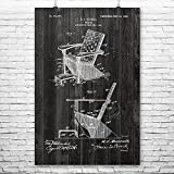 Adirondack Chair Poster Print, Plank Wood, Furniture Maker, Outdoor Seating, Retro Furniture, Wood Working, Patent Print Weathered Wood (12'' x 18'')