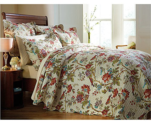Diana Cowpe 2 Pillowshams Birds & Flowers Design