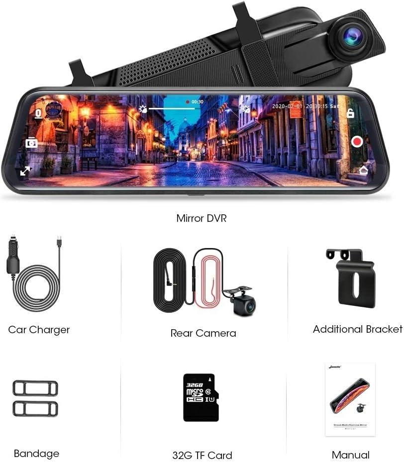 Jansite 10 Dashcam Voiture R/étroviseur /Écran Tactile Full HD 1080P Cam/éra de recul de stationnement Grand Angle Camera Arri/ère Syst/ème de Stationnement avec Vision Nocturne Facile a Onstaller