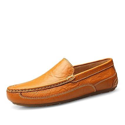 Jiuyue-shoes Mocasines de conducción para Hombres, Oxford Mocasines Suela de Cuero Genuino Slip