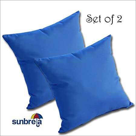 Set of 4 Outdoor Decorative Lumbar Throw Pillows Sunbrella Canvas Pacific Blue