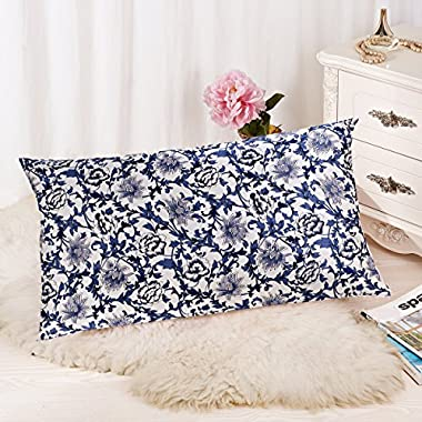 ALASKA BEAR - 100% Pure Silk Pillowcase for Hair & Facial Beauty Queen Standard Size, Printed Floral Pillow Shams Cover with Hidden Zipper - BETTER than SATIN, COTTON or POLYESTER Pillowcase - NO 'odor' or dyes problem (1, blue-and-white porcelain prints)