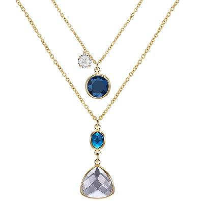 Hot Fashion Jewelry Teardrop Crystal Statement Bib Pendant Chain Choker Necklace