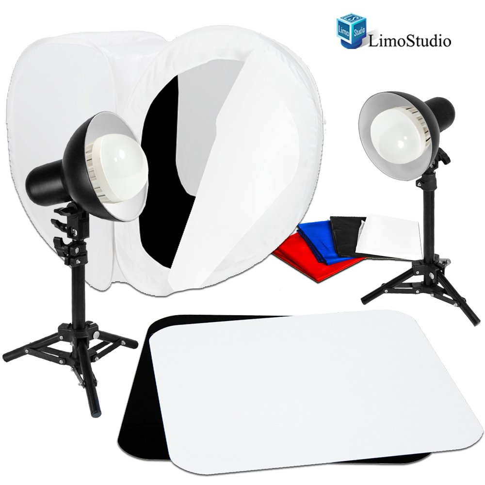 LimoStudio 2 Sets of 18W LED Table Top Lighting Kit with Light Stand Tripod & Photo Shooting Soft Box Tent & 12'' Acrylic Black & White Reflective Photo Background, Photo Studio, AGG1849
