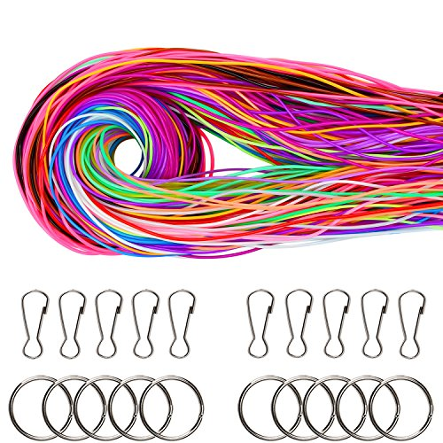 Coobey 200 Pieces Scoubidou Strings Plastic Lacing String Craft Gimp String Multi-Color DIY Craft Cord Jewelry Making Pack with Snap Clip Hooks Keychain Ring Clips, 656-Feet, 20 - Lacing Craft Kit