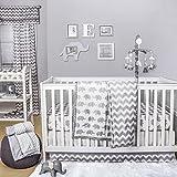 Ellie Chevron Grey Elephant Baby Crib Bedding - 20 Piece Nursery Essentials Set