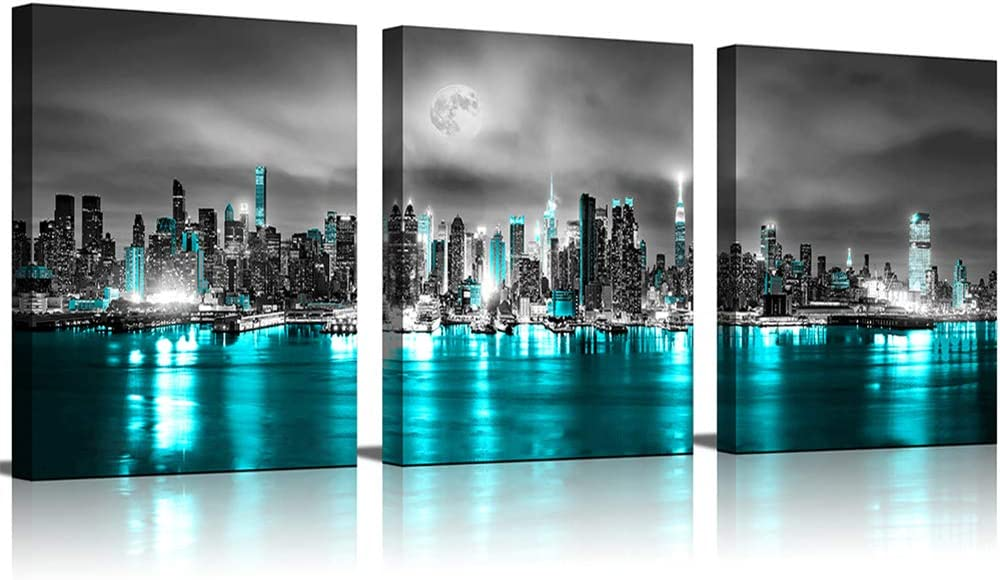 Wall Decor for Living Room Black and White Canvas Wall ArtNew York Street Art Blue Cityscape Building Framed Wall Art for Bedroom Office Decoration