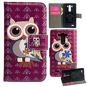 Harryshell LG G3 Case, Cute Owl Cartoon Pattern Flip Leather Skin Wallet Stand Case Cover for LG G3 Free for Screen Protector and Stylus (1)