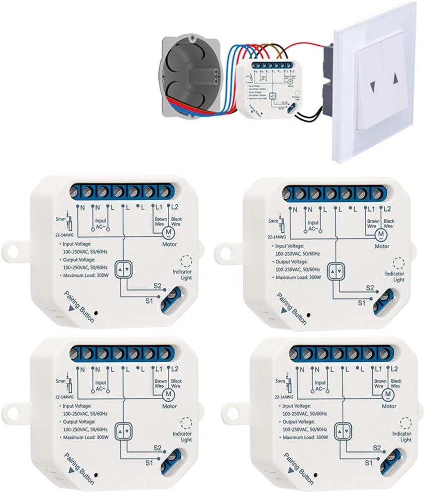 LoraTap Interruptor Persianas WiFi, 4 Piezas Relé de Persiana Temporizador Inteligente para Cortina Eléctrica, Control Remoto por Teléfono, Compatible con Alexa y Google Home para Control de Voz, 300W