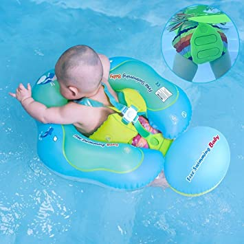 [New Upgrade Version] Inflatable Baby Swimming Float with Safe Bottom  Support and Swim Buoy Floats for Safer Swims (Upgrade Blue, L)