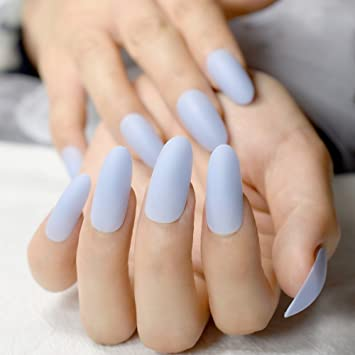 Amazon.com : 24pcs Sky Blue Acrylic Nail Art Tips Easy DIY Long Oval ...