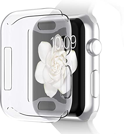 Pobon Compatible with Series 4 & Series 5 Apple Watch Case 44mm, Built-in Screen Protector [3D Touch] All-Around Protective Ultra Clear Soft TPU Case ...