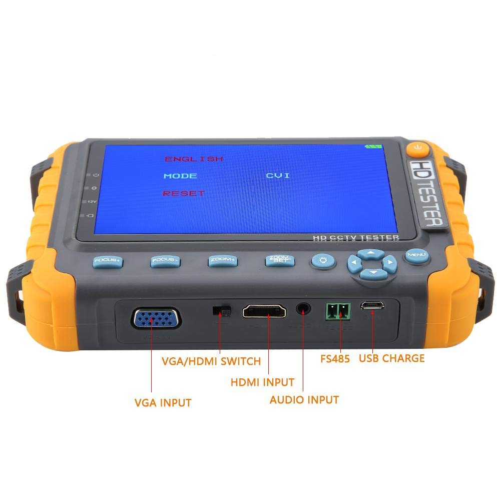 5 pulgadas 5MP 4-en-1 TVI AHD CVI CVBS CCTV C/ámara de seguridad Tester CCTV Tester AC C/ámara de seguridad CCTV Tester