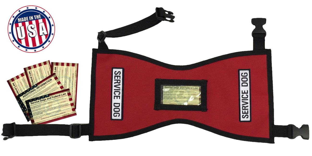 Quick-Ship Service Dog Vest with FREE patches and 5 FREE Info Cards In Clear Pocket