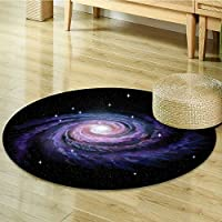 Dining Room Home Bedroom Carpet Floor Mat Celestial Dust Turning Spiral Nebula Plasma Stars Planetary Print Black Non Slip rug-Round 39