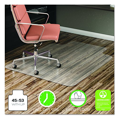 deflecto EconoMat Anytime Use Chair Mat for Hard Floor with Lip, 45