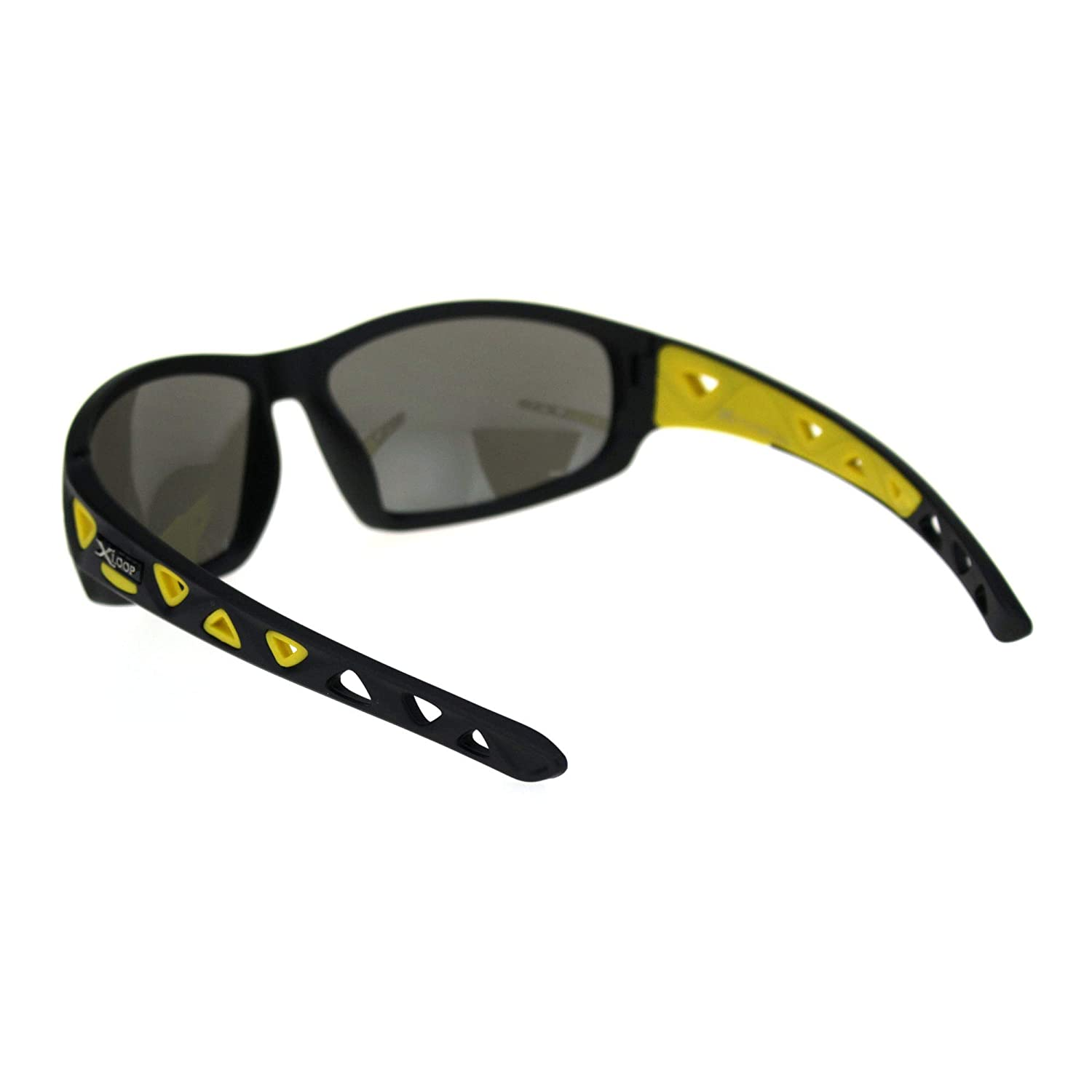 Xloop Mens Warp Around Plastic Sport Silver Mirror Sunglasses