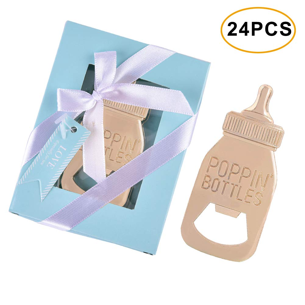 48pcs Baby Shower Return Gifts for Guest Supplies Poppin Baby Bottle Shaped Bottle Opener Favor (Blue 24pcs) by DoYay