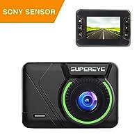 SuperEye da cruscotto auto fotocamera 1080p telecamera con sensore Sony Super, visione notturna, obiettivo grandangolo 170, WDR, loop recording, G-Sensor, comando controllo, rilevazione di movimento