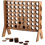 JHY DESIGN Wooden 4 in A Row Game,Sleek Design Wood Tabletop Board Game,with Carrying Color Box,Coin's Storage Bag and Rules for Game Night,Parties,Bar Game and Kid's Birthday.