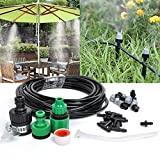 Lamptop 10m Home Garden Patio Misting Micro Flow Drip Irrigation Misting Cooling System with 10pcs Plastic Mist Nozzle Sprinkler for Plant Flower