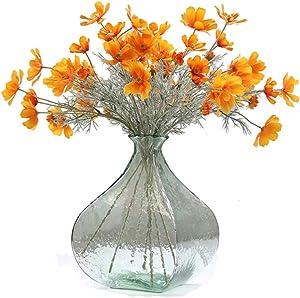 Artfen 6 Pcs Artificial Calliopsis Flowers Fake Silk Flower Table Kitchen Home Garden Party Wedding Decoration Approx 24'' High Warm Autumn Orange No Vase