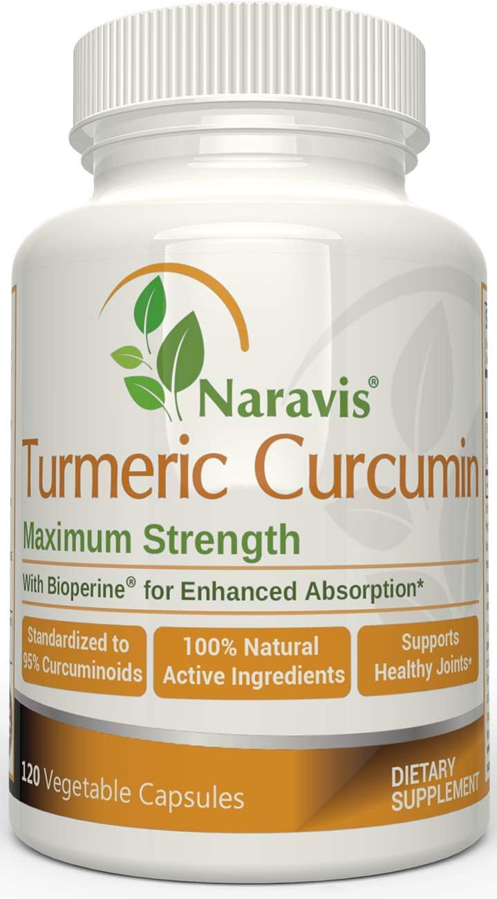 Naravis Turmeric Curcumin with Bioperine – 95 Curcuminoids – 120 Veggie Capsules – Non-GMO Pain Relief – Anti Aging – Natural Anti-Inflammatory Joint Support Supplement