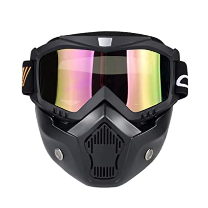 7474b9bea4b Image Unavailable. Image not available for. Color  Wenyujh Anti-Fog  Windproof Face Mask Motorcycle Ski Goggles with Mouth Filter