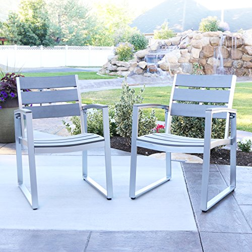 W. Designs Set of 2 All-Weather Grey Patio Dining Chairs