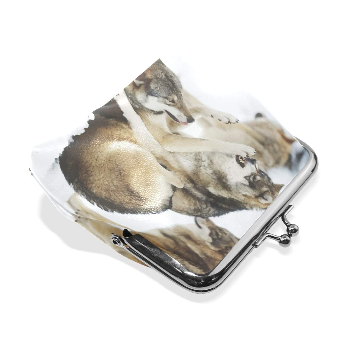 LALATOP Fighting Wolves Womens Coin Pouch Purse wallet Card Holder Clutch Handbag