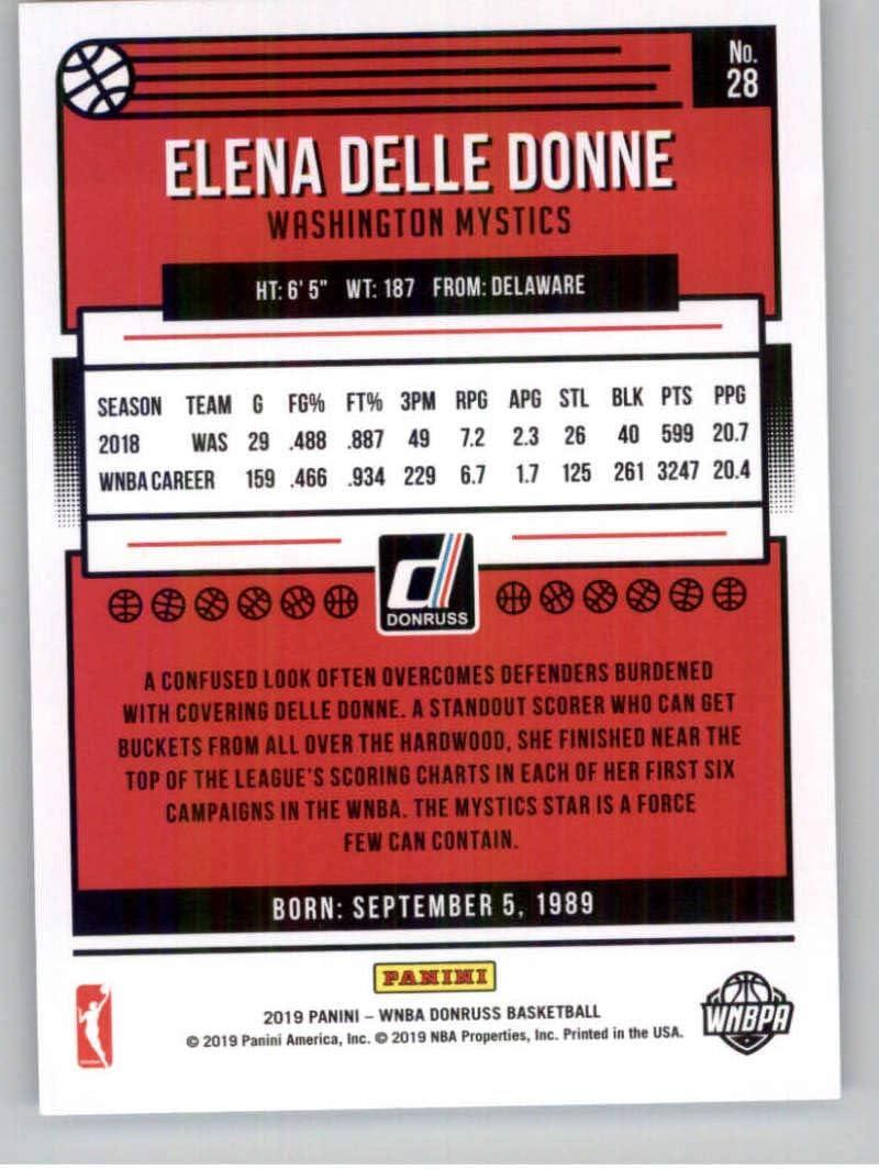 2019 Donruss WNBA #28 Elena Delle Donne Washington Mystics Basketball Trading Card