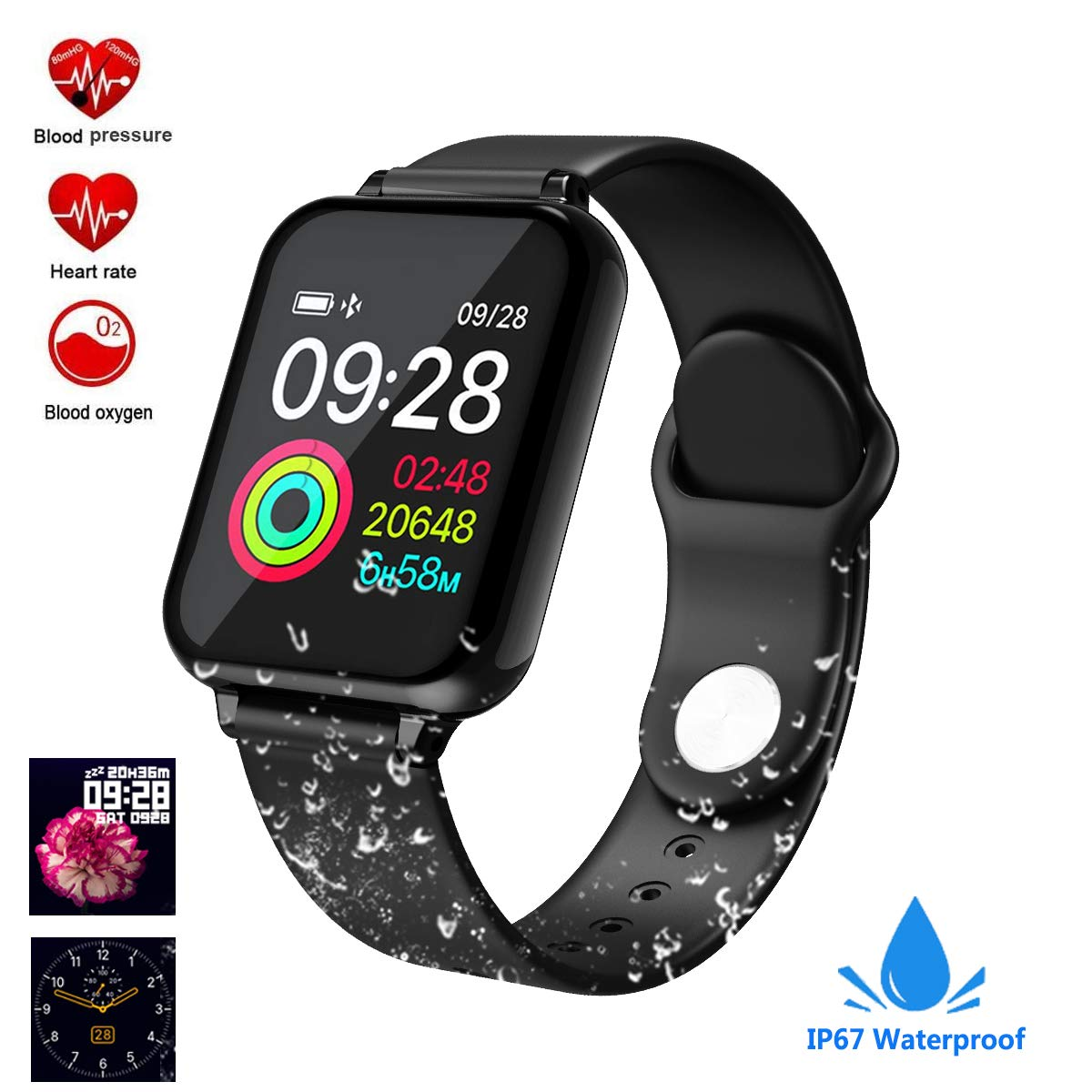 feifuns Smart Watch, Fitness Tracker Activity Tracker with Heart Rate Monitor 1.3 Color Screen with Blood Pressure Sleep Monitor Step Calorie Counter,IP67 Waterproof Band for Men Women Kids (Black)