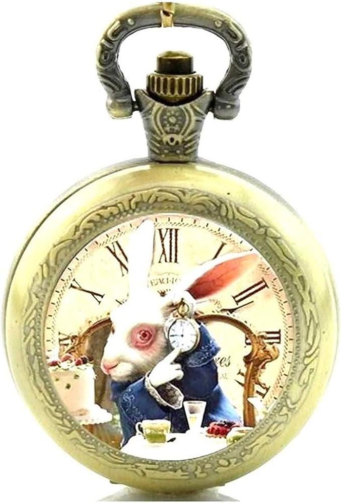 Reloj de bolsillo con mecanismo de cuarzo y cadena, diseño de Alicia en el País de las Maravillas, efecto de bronce antiguo, caja de regalo con pila de repuesto: Amazon.es: Relojes
