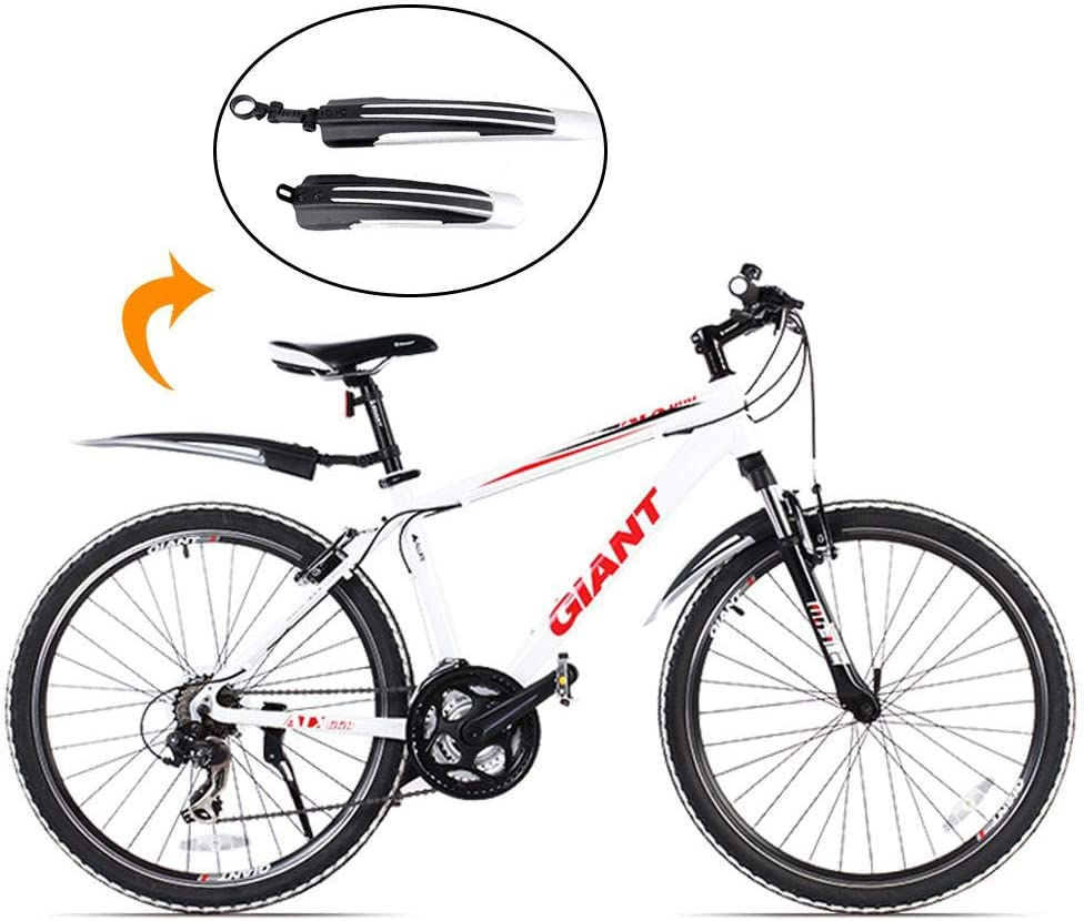 Mountain Bike Front and Rear Set Mud Guard Portable Adjustable Bicycle Fender for Mountain Bike Noir+gris Pawaca Front and Rear Mudguard for Mountain Bikes Bicycle Mudguards