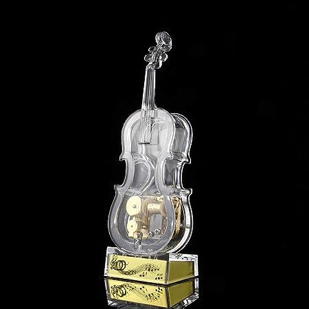 JINYANG Bo/îte /à musique NO: 8086 Bo/îte /à musique en forme de violon en cristal transparent Couleur : Transparent Transparent taille moyenne JINYANG