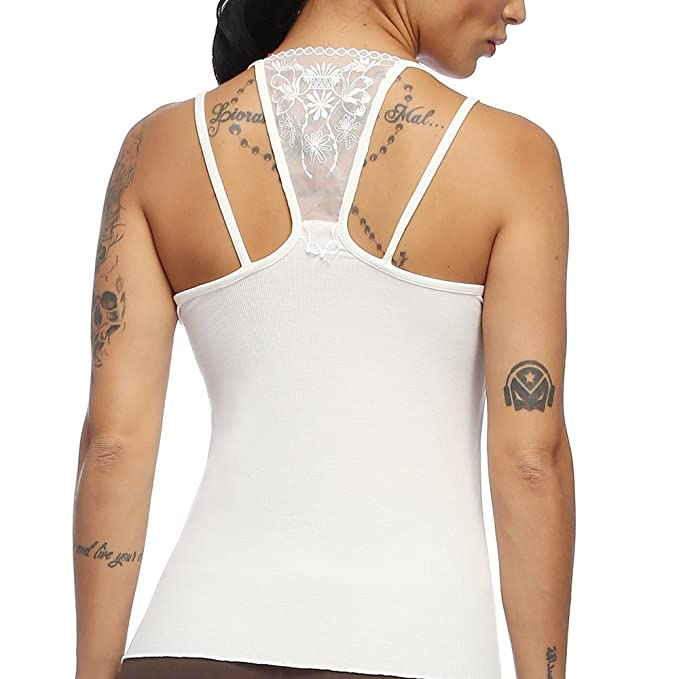 9a66cba9dc275 Exlura Womens Cami Tank Tops Criss Cross Lace Back Hollow Out ...