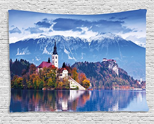 Ambesonne Landscape Tapestry, Photo of Bled in Slovenia with Lake Snowy Mountains and a Castle Pastoral Scenery, Wall Hanging for Bedroom Living Room Dorm, 60 W X 40 L Inches, - Tapestry Wall Pastoral Hanging