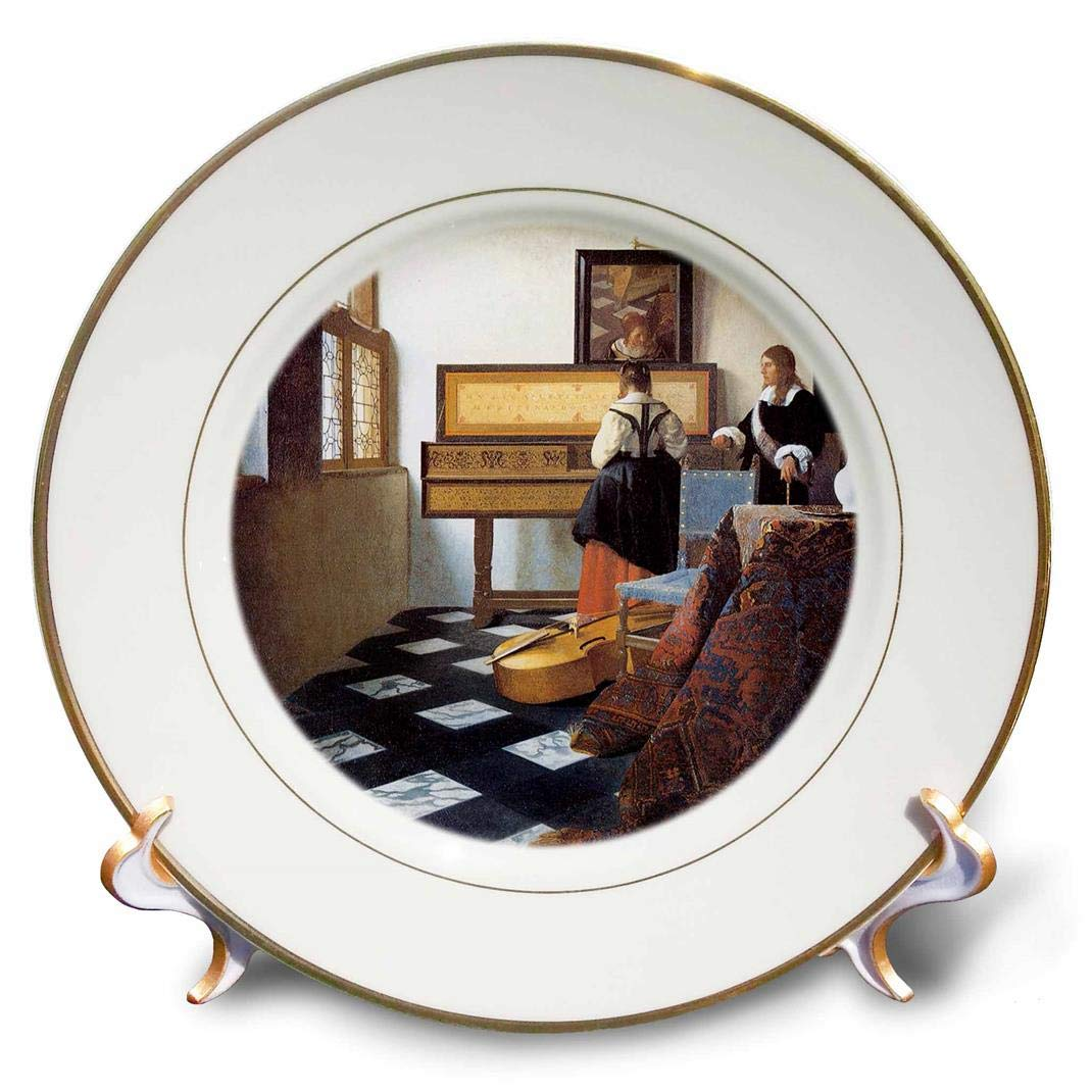 3dRose cp/_175452/_1 The Music Lesson C 1662 by Johannes Vermeer 8 Girl at The Piano Porcelain Plate