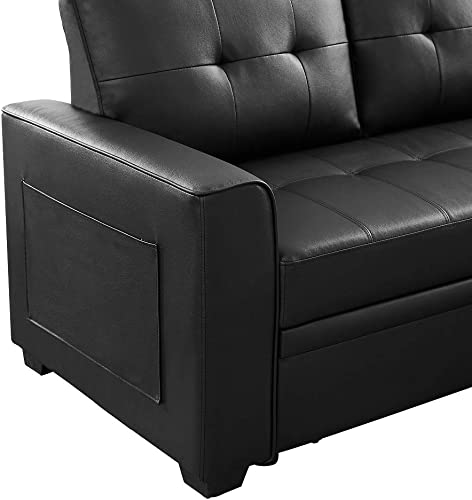 Infini Furnishings 84″ Wide Faux Leather Reversible Sleeper Sectional Sofa Storage Chaise