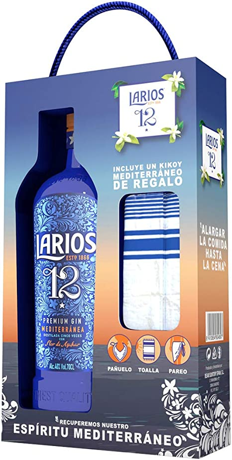 LARIOS 12 Ginebra Mediterránea + Pañuelos de Regalo, 40%, 700 ml