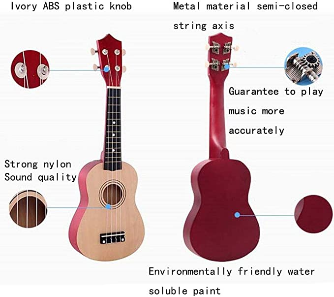ADATEN Instrumentos Ukelele Kit de Inicio 8 21 Pulgadas Madera ...