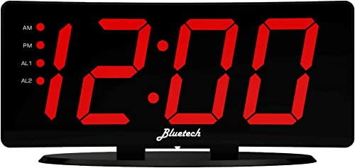 Curved LED Digital Alarm Clock, 2 Alarms, 2 USB Charging Ports, 7 x3.25 x2 – Bluetech