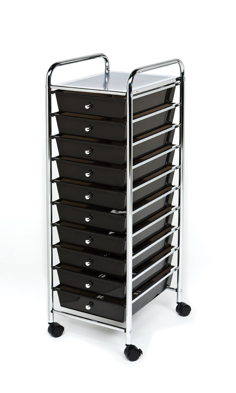 Seville Classics 10-Drawer Organizer Cart, Black by Seville Classics